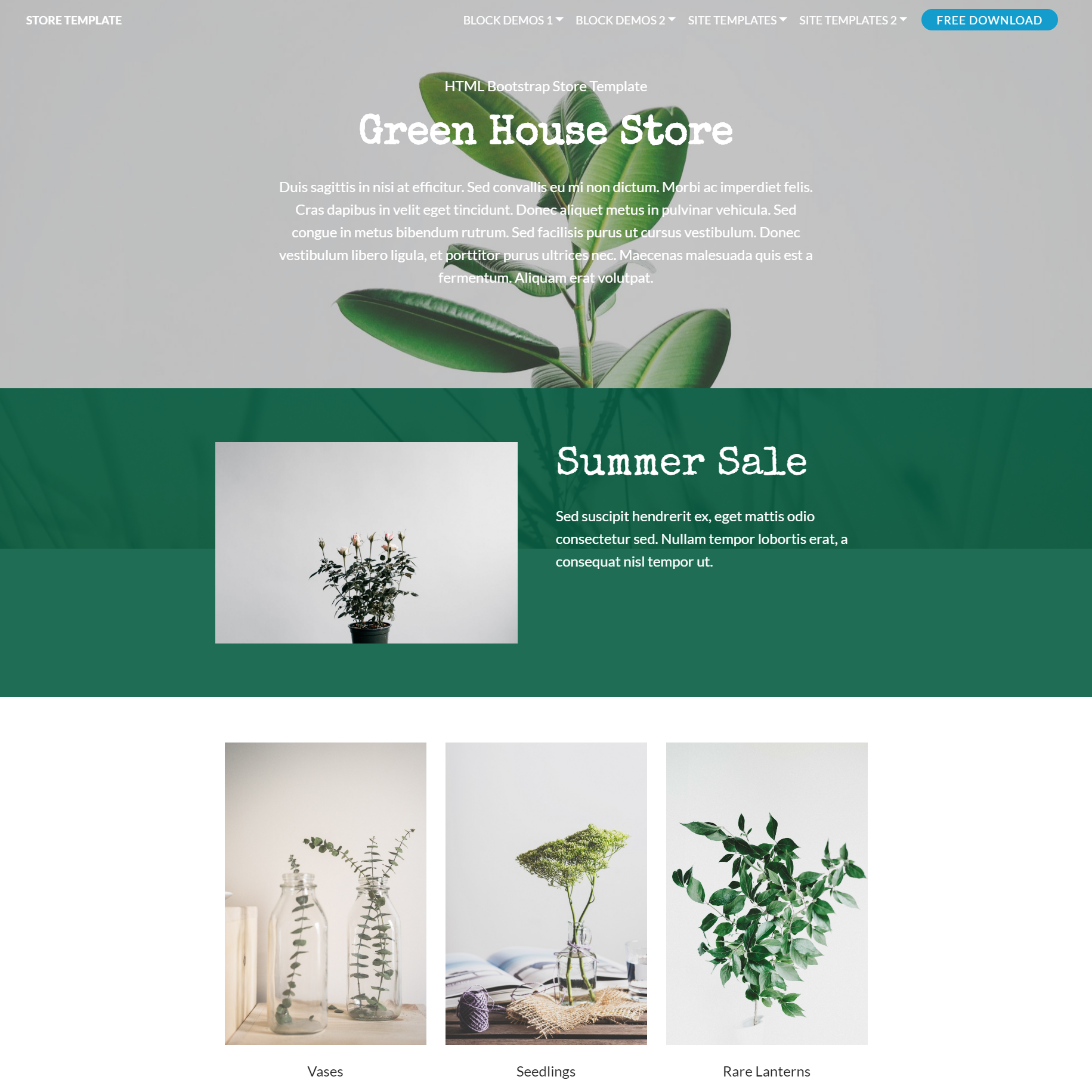 Free Bootstrap Store Templates
