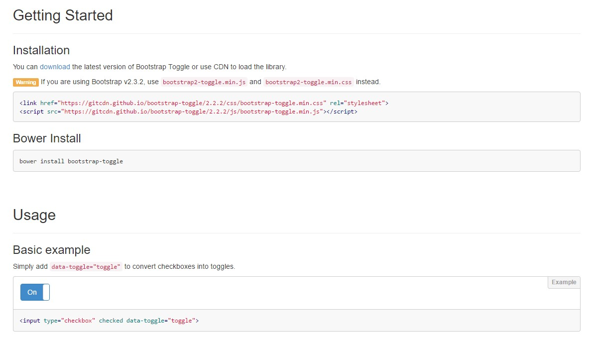 Bootstrap Toggle Switch plugin