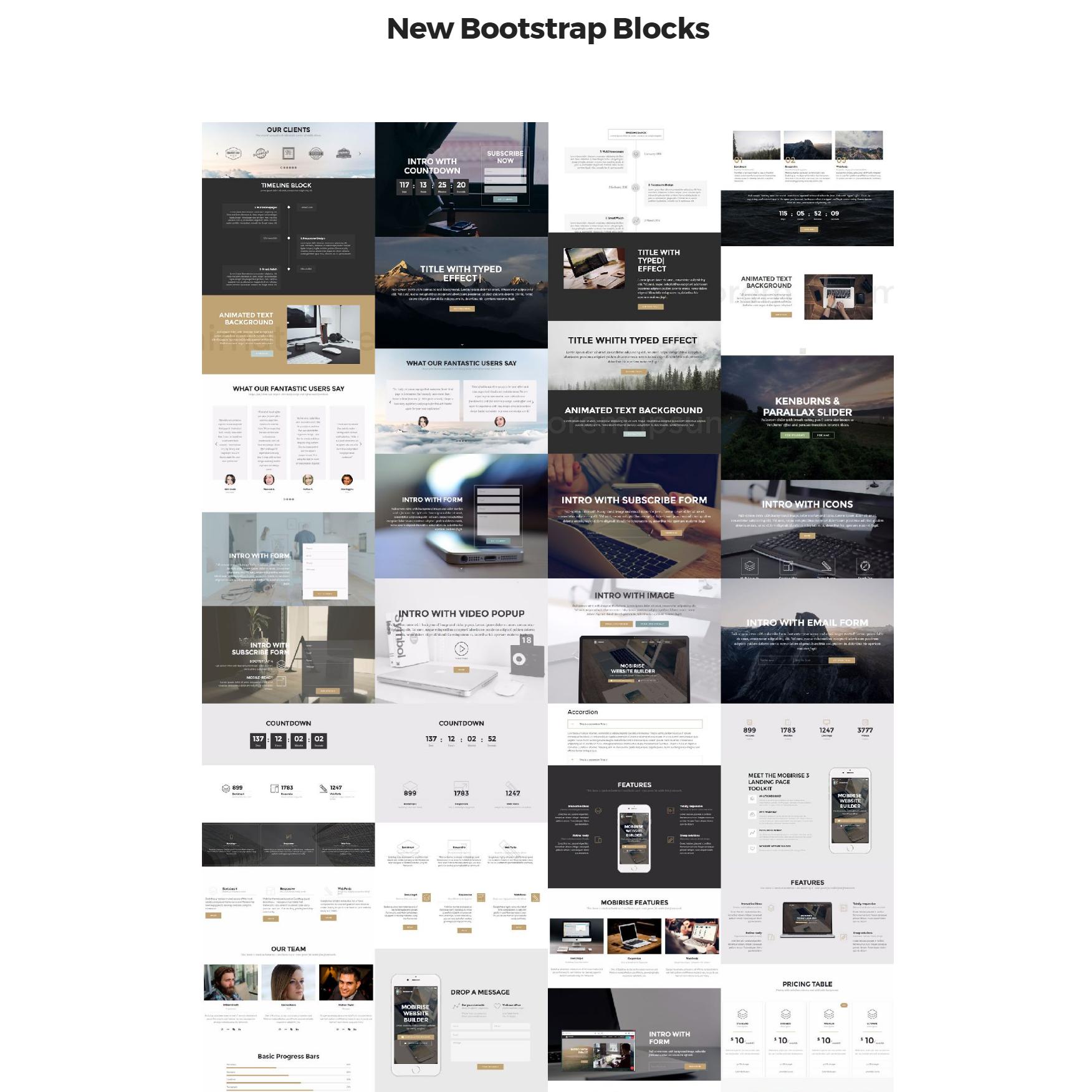 Responsive Bootstrap 4 mobile-friendly blocks Templates