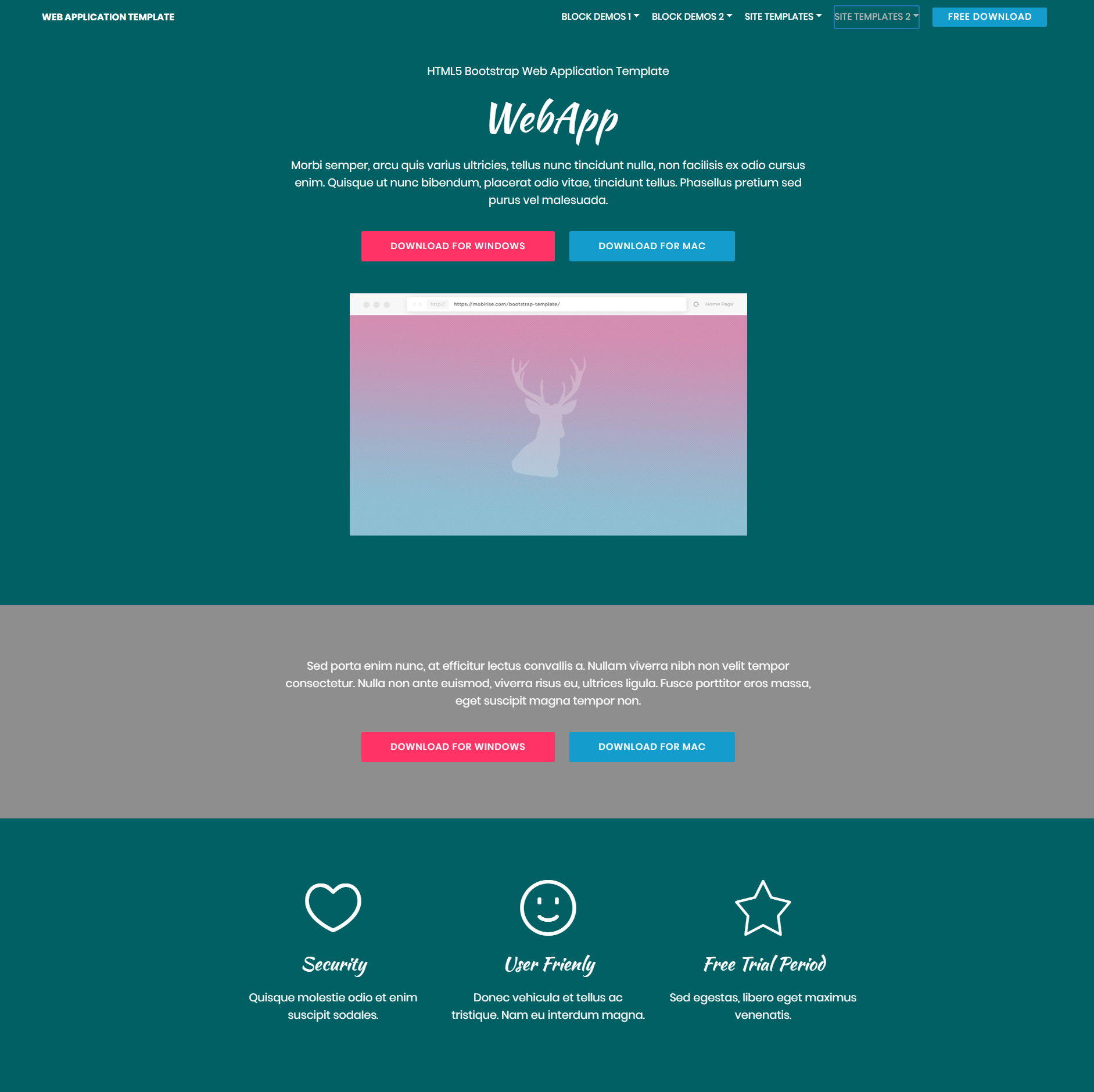 HTML5 Bootstrap Web Application Themes